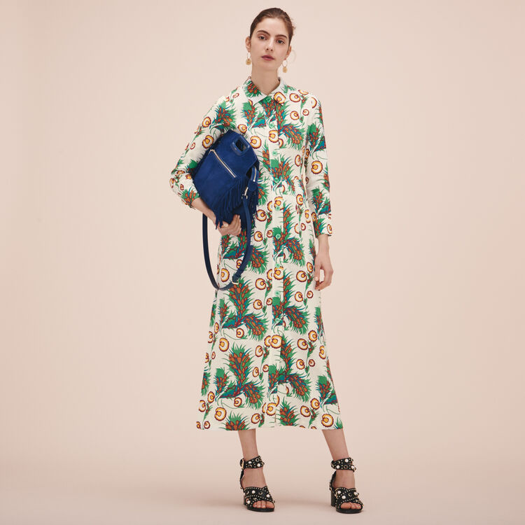 Robe-chemise longue imprimée - Robes - MAJE
