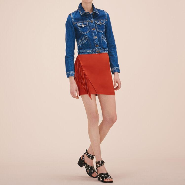 Jupe courte avec franges - Jupes & Shorts - MAJE