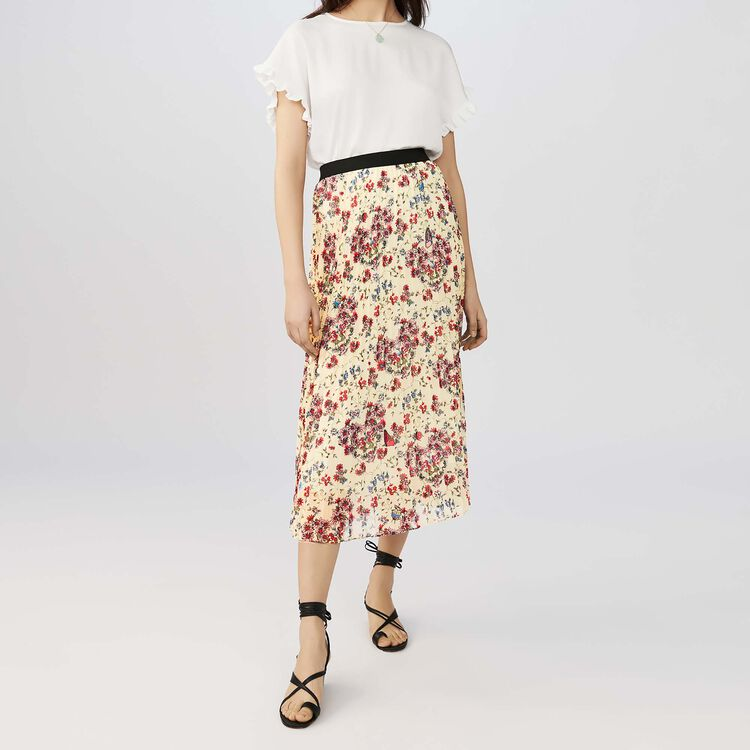 마쥬 롱 치마 MAJE JIMEL - Jupe longue plissee A imprime floral - Jupes & Shorts