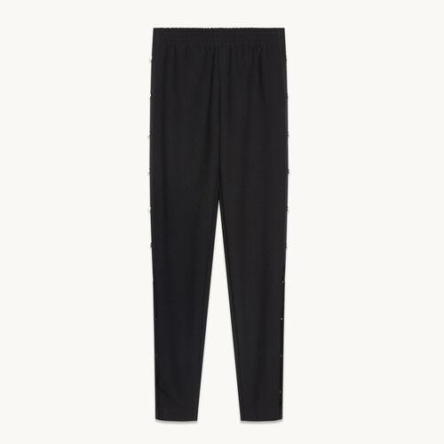 Pantalon en crêpe avec boutons pression - Pantalons - MAJE