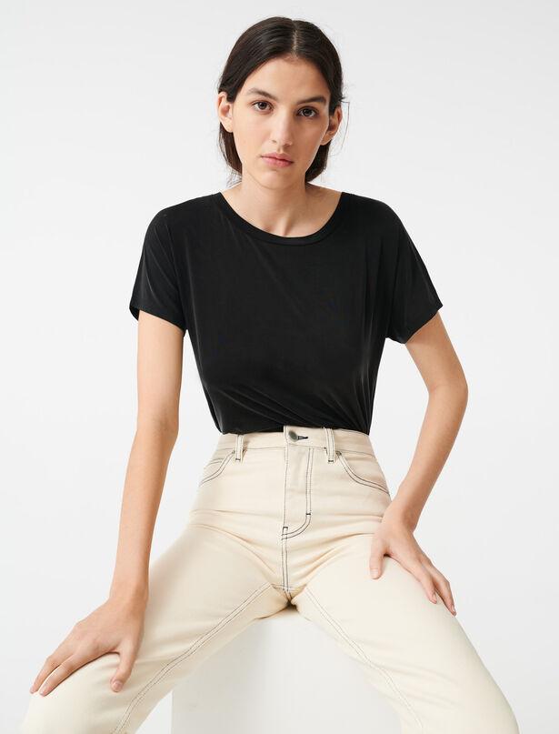 마쥬 티셔츠 MAJE 220TOMATE Tee-Shirt decollete dans le dos,Noir