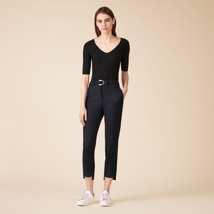 Pantalon de tailleur à rayures tennis -  - MAJE