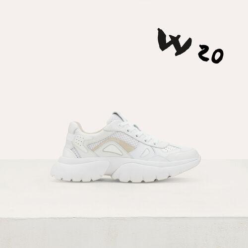 마쥬W20 어반 스니커즈 화이트 (지지 하디드 착용) MAJE FASTER Sneakers W20 urbaines en cuir, Blanc