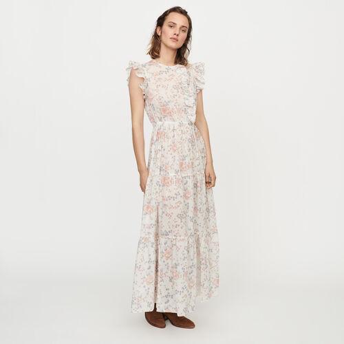 마쥬 MAJE ROSEE Robe longue florale A volants,Rose