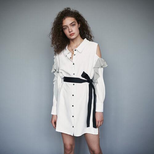마쥬 원피스 MAJE 119RELIA Robe-chemise rayee A volants,Blanc/Noir