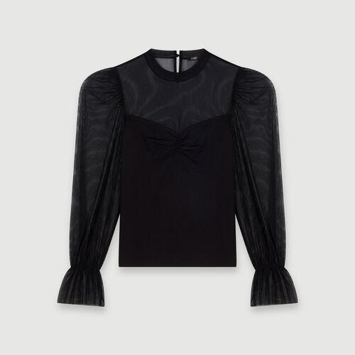 마쥬 사틴 블라우스 MAJE 119TILDA Tee-shirt trompe-l'OEil,Noir