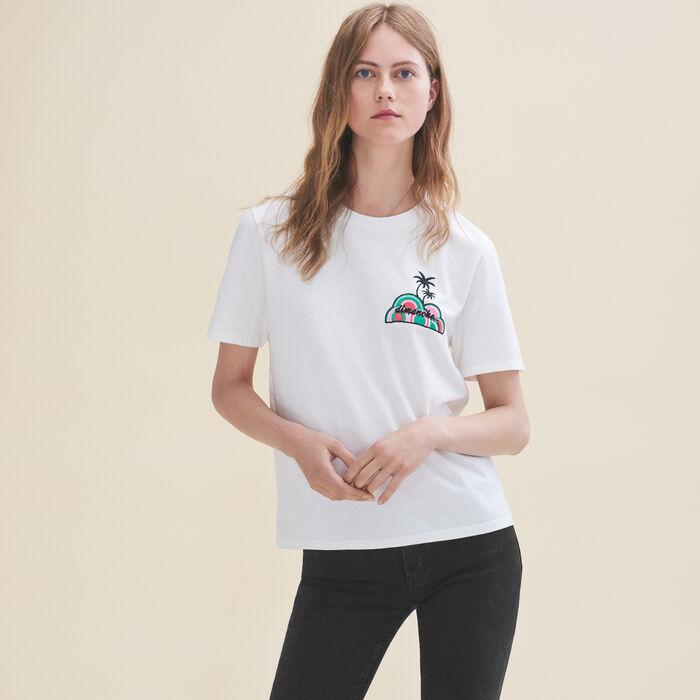 Tee-shirt brodé Dimanche -  - MAJE