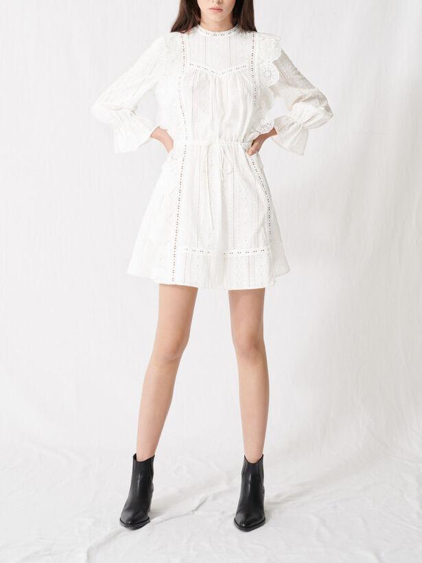 마쥬 펀칭 레이스 원피스 - 화이트 (아이유, 설현 착용) MAJE 220RAVIA Robe blanche A broderies anglaises