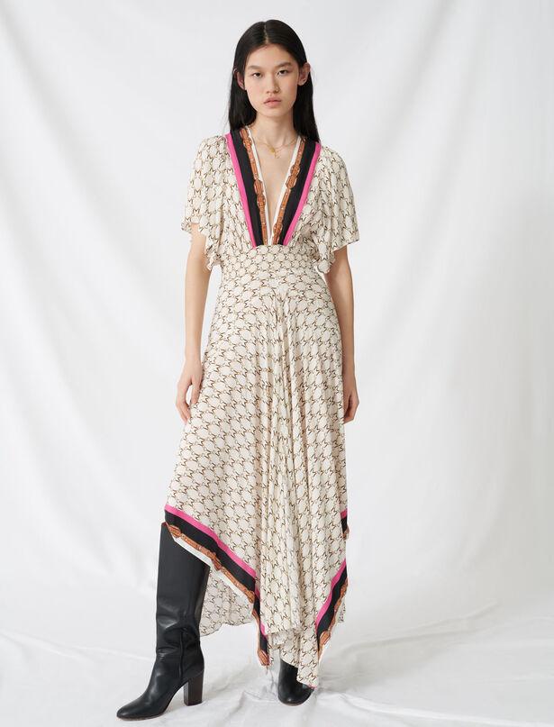 마쥬 브이넥 패턴 롱 모슬린 원피스 MAJE 220RACHELINE Robe en mousseline A imprime foulard,Ecru
