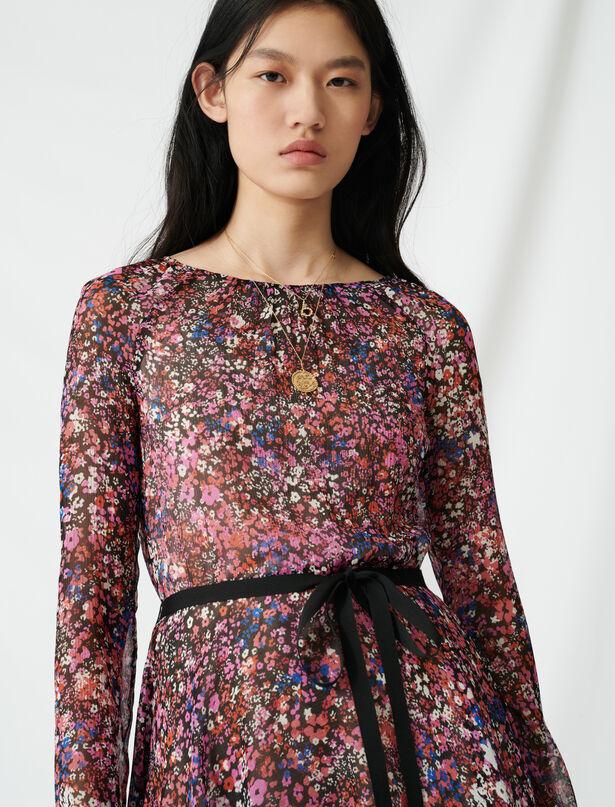 마쥬 플로럴 패턴 벨티드 실크 원피스 MAJE 220RELANA Robe A fleurs ceinturee,Noir/Rose