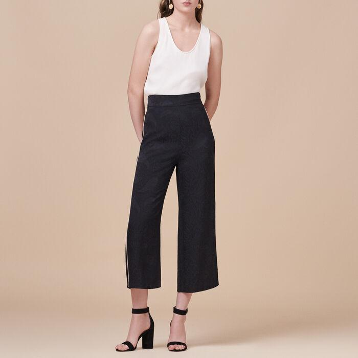 Pantalon large avec imprimé brocart -  - MAJE