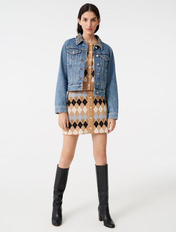 마쥬 젬스톤 카라 청자켓 MAJE 220BIANCA Blouson en jean avec col A pierres,Bleu