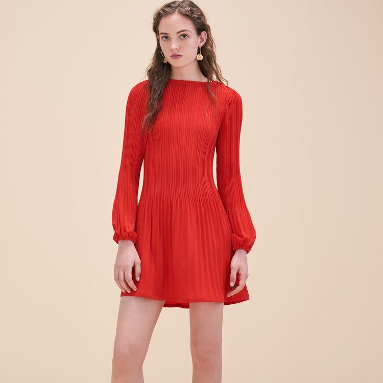 Robe-blouse plissée en crêpe - Robes - MAJE
