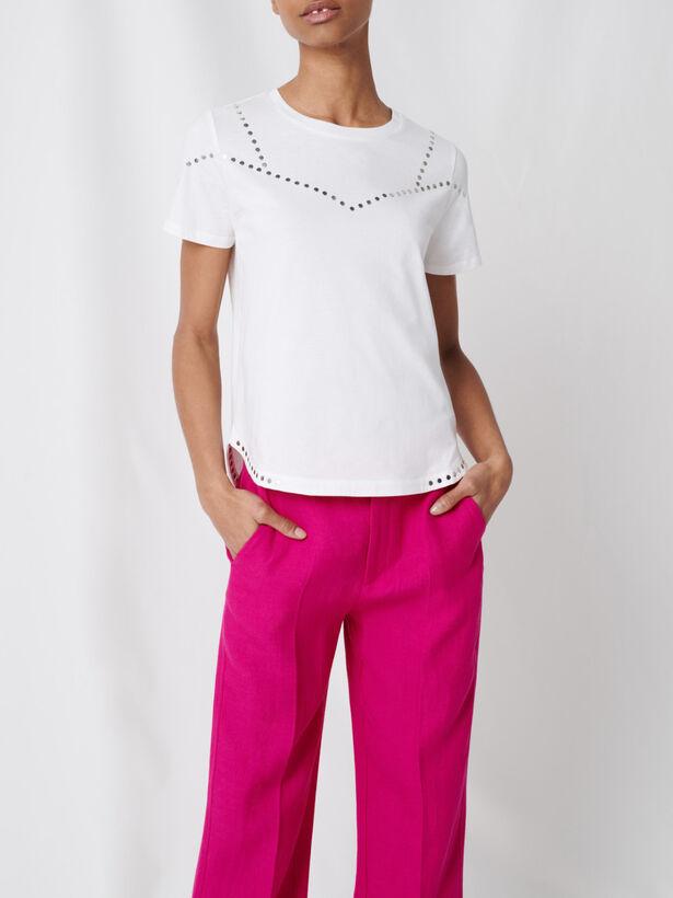 마쥬 스터드 장식 티셔츠 MAJE 220TABLOID T-shirt blanc cloute,Blanc