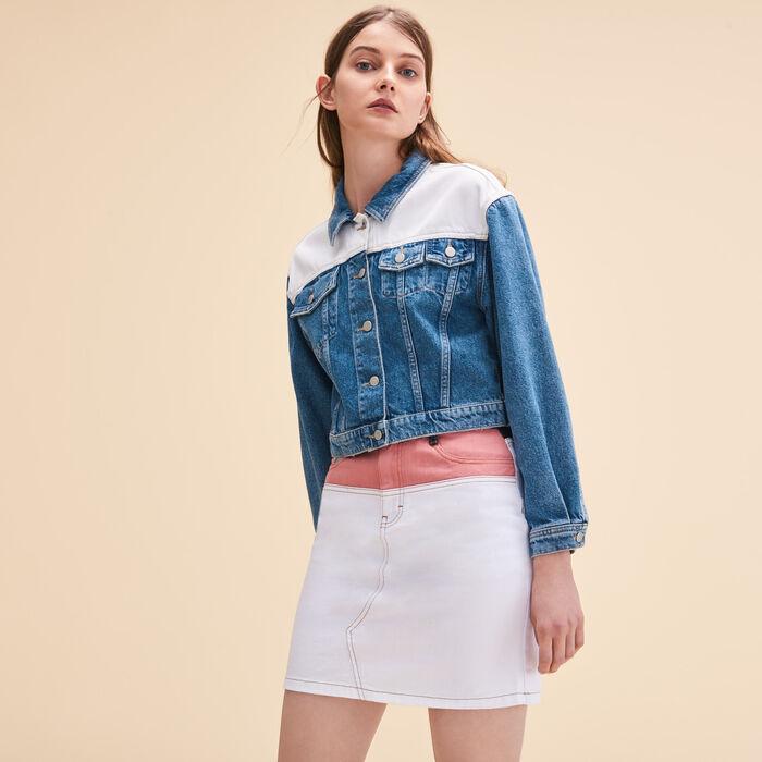 Veste en jean bicolore -  - MAJE