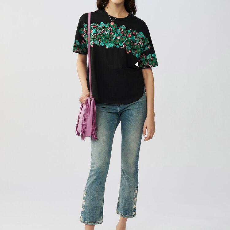 마쥬 티셔츠 MAJE TENERIF - Tee-shirt loose brode en coton - T-Shirts