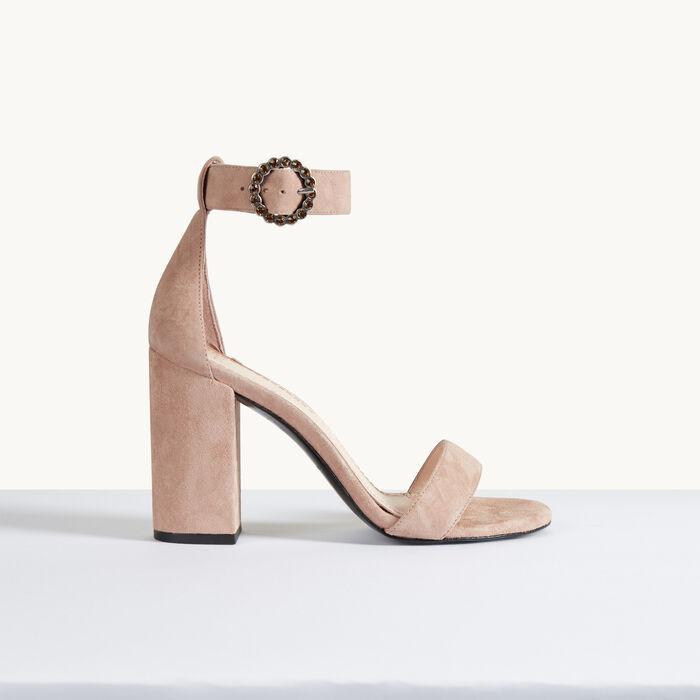 Sandale à talon en cuir de suède -  - MAJE
