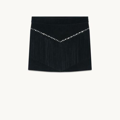 Jupe à franges en daim - Jupes & Shorts - MAJE