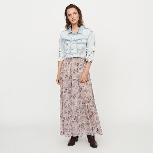 마쥬 롱 치마 MAJE JACINTHE Jupe longue A fleurs en voile de coton,LILA