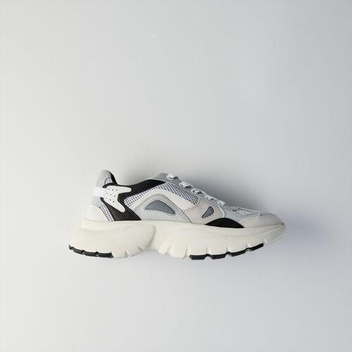 마쥬 MAJE 119 FASTER REFLECTIVE Sneakers W20 urbaines en cuir,Gris