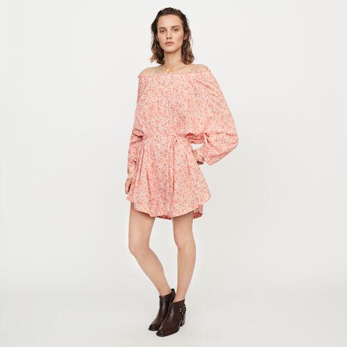 마쥬 MAJE REGTIMA Robe courte florale en voile de coton,Corail