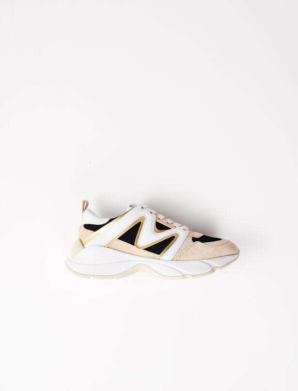 마쥬 W22 스니커즈 MAJE GOLD Sneakers multi-matiere,NOIR / OR