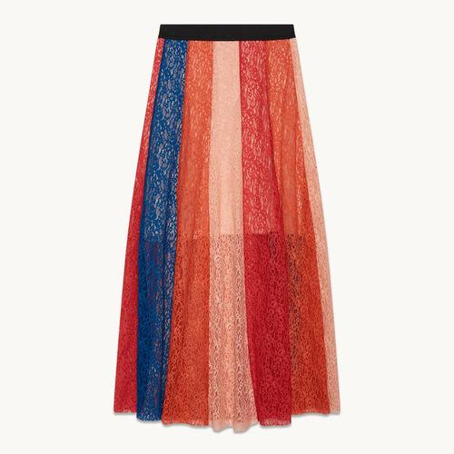 Jupe longue avec bandes de dentelle - Jupes & Shorts - MAJE