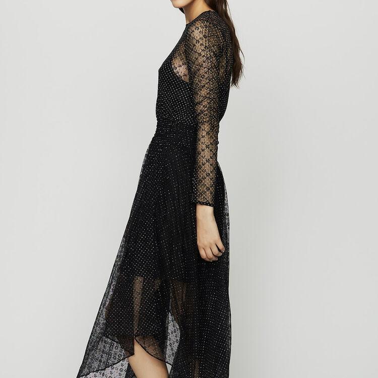 마쥬RELENA 자수 튤 원피스 (박민영 착용) MAJE RELENA Robe en tulle plumetis, Black