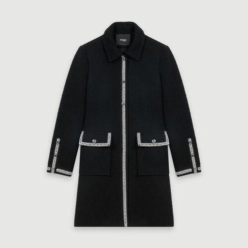 마쥬 코트 MAJE 119GENALI Manteau facon tweed contraste,Noir