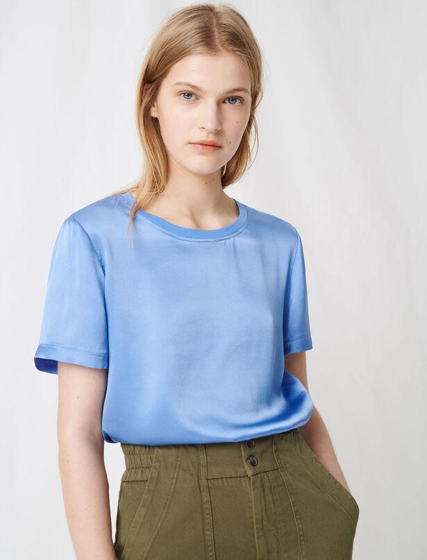 마쥬 MAJE 220TANK T-shirt bi-matiere en coton et soie