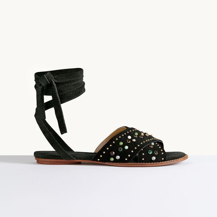 Sandales plates avec studs -  - MAJE