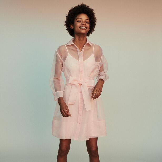 마쥬 MAJE REVANI Robe-chemise en organza,Rose Pale
