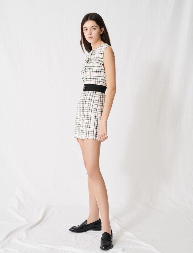마쥬 벨티드 트위드 미니 원피스 MAJE 220RIANEY Robe mini ceinturee en tweed,Ecru