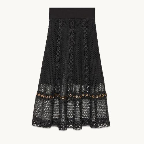 Jupe longue en maille brodée - Jupes & Shorts - MAJE