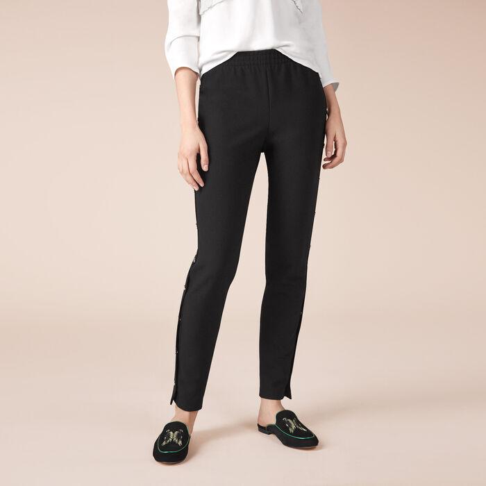 Pantalon en crêpe avec boutons pression -  - MAJE