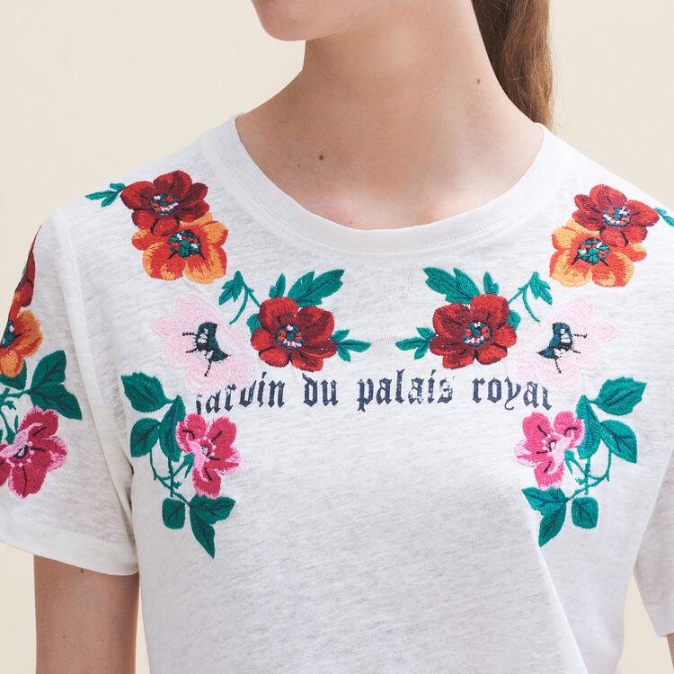마쥬 티셔츠 MAJE TANISHA Tee-shirt avec broderies,ECRU