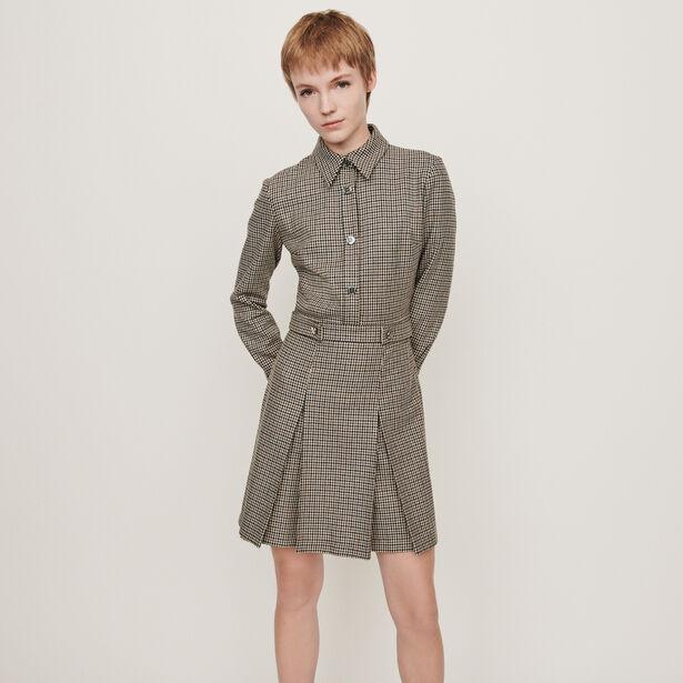 마쥬 원피스 MAJE 119REGOR Robe-chemise A imprime prince-de-galles,Gris