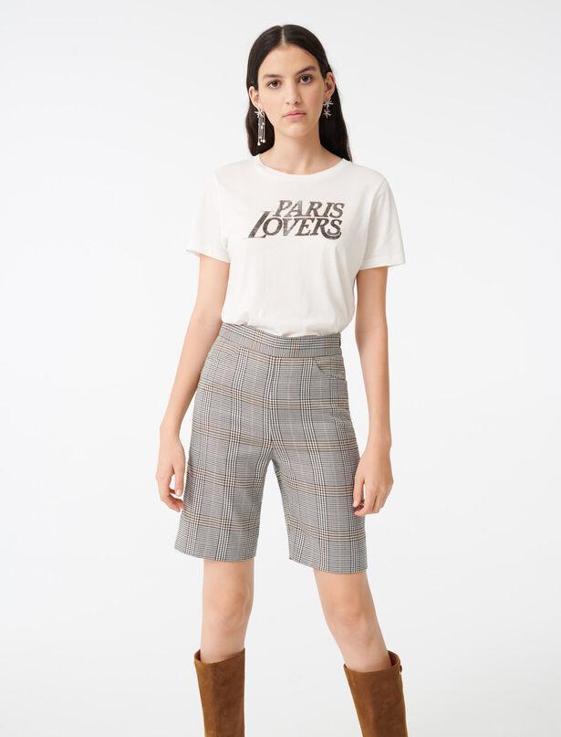 마쥬 PARIS LOVERS 레터링 티셔츠 MAJE 220TERENCIA Tee-Shirt serigraphie,Blanc