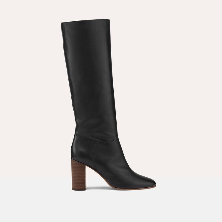 Bottes en cuir lisse - Chaussures - MAJE