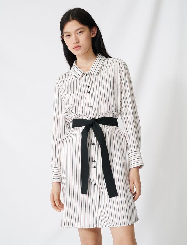 마쥬 핀스트라이프 벨티드 셔츠 원피스 MAJE 220RAYONA Robe chemise ceinturee A fines rayures,Ecru/Noir