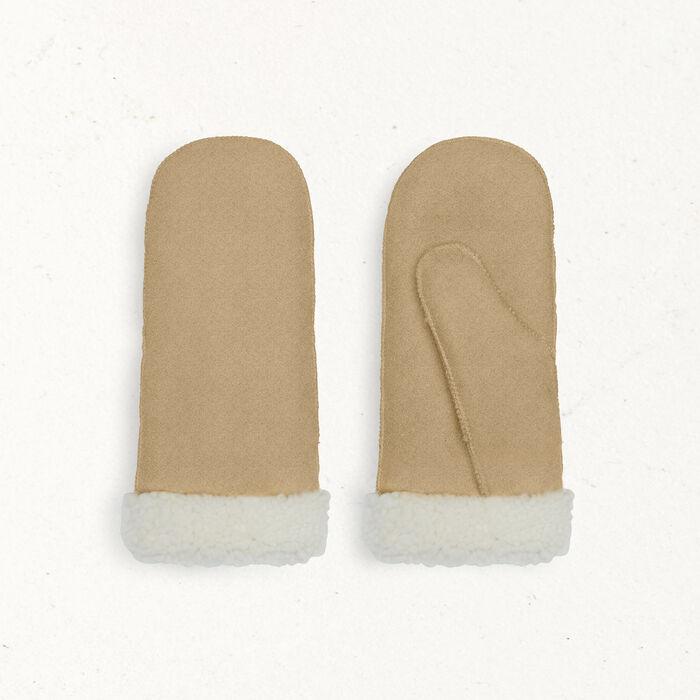 Moufles en peau lainée -  - MAJE