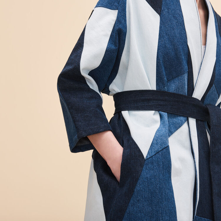 Veste en jean avec patchwork - Denim - MAJE