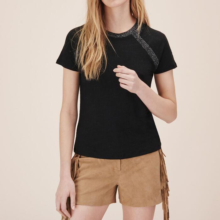 Tee-shirt en lin avec détail lurex -  - MAJE