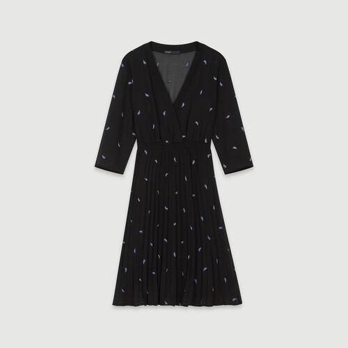 마쥬 페이즐리 자수 플리츠 원피스 - 블랙 MAJE 119RIVIERE Robe plissee A motifs cachemires brodes