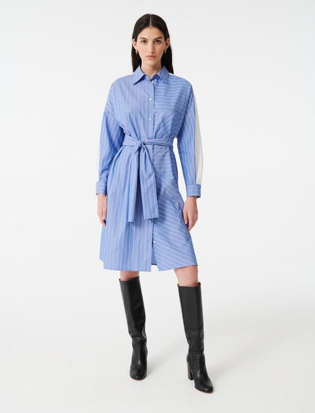 마쥬 타이 웨이스트 스트라이프 셔츠 원피스 MAJE 220ROXELLE Robe chemise en rayures imprimees,Bleu Clair