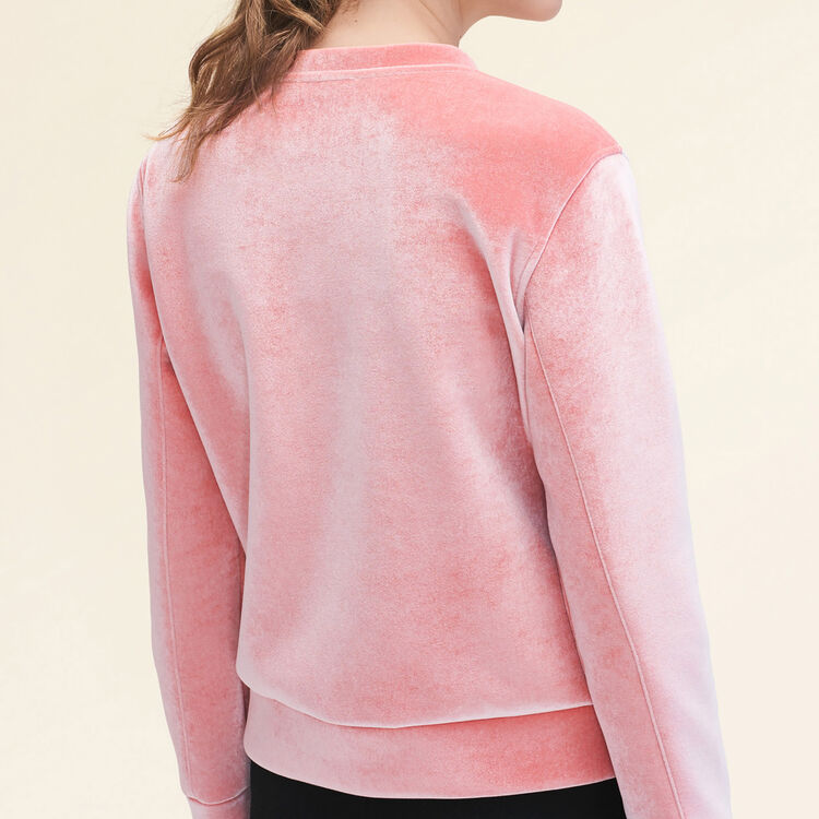 Sweat droit en velours. - Maille - MAJE