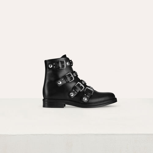 마쥬 MAJE FORTUNA Bottines plates en cuir et studs,Black