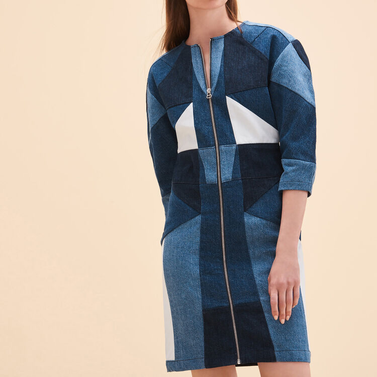 Robe en jean avec patchwork - Robes - MAJE