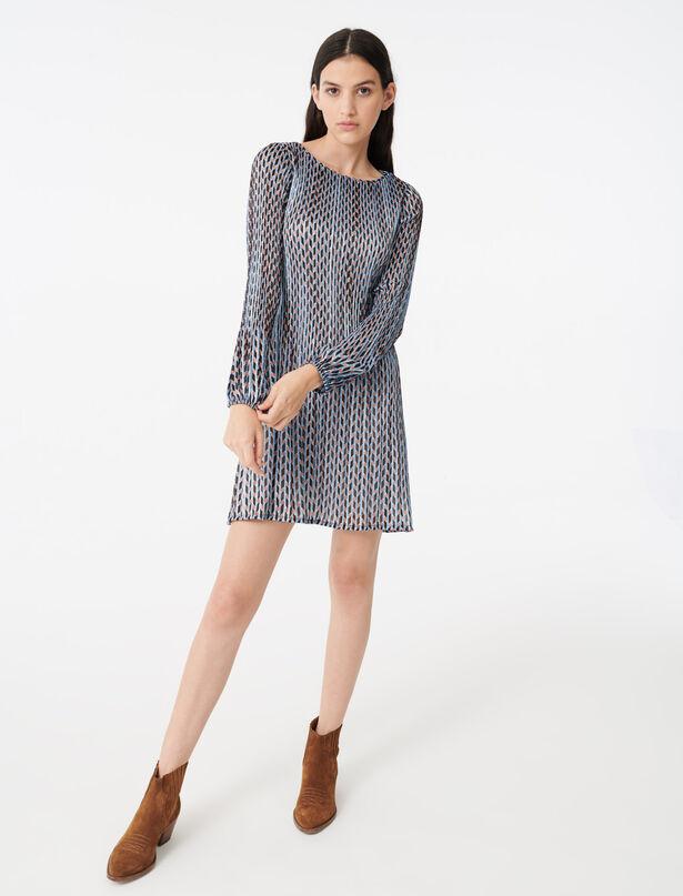 마쥬 루렉스 패턴 주름 원피스 MAJE 220ROCKILANE Robe plissee en jacquard lurex imprime,Bleu