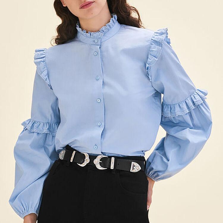 마쥬LOUTAN (윤아 착용) 벌룬 소매 셔츠 2컬러 블루, 화이트 셔츠 MAJE LOUTAN Chemise en popeline avec volants